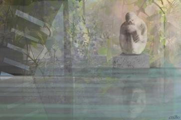 scultura e foto personali, elaborate daCristina Bove in sovrapposizione grafica